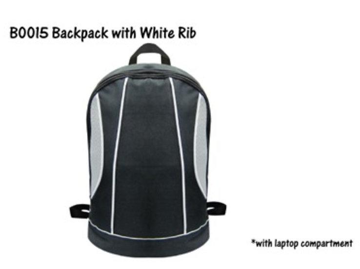 B0015 Backpack with White Rib
