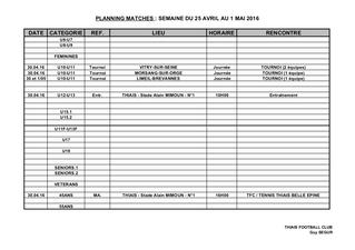 Planning 26 au 30 avril