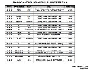 Planning Matchs 10-11 décembre 2016