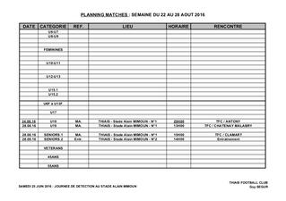 Planning match du 24 au 28 août