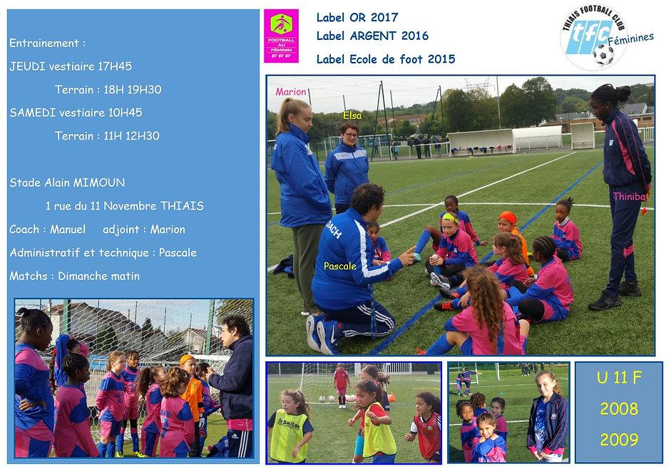 composition 2018 2019 U11F THIAIS FC FEM