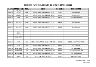Planning Match 24-30 octobre