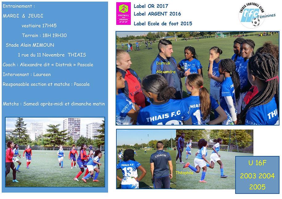 composition 2018 2019 U16F THIAIS FC FEM