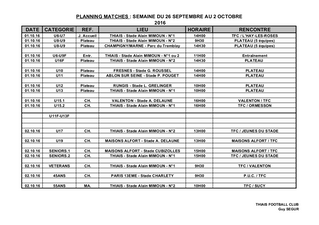 Planning match du 26 sept au 2 octobre