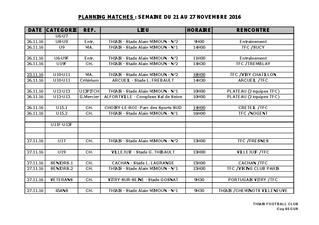 Planning Matchs du 26-27 novembre