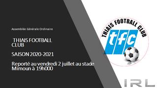 AG du club vendredi 2 juillet 2021 19h00 Stade Mimoun
