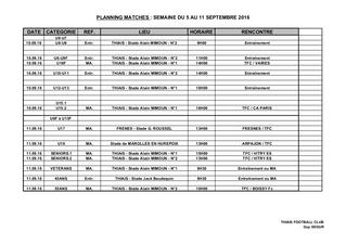Planning 10-11 septembre