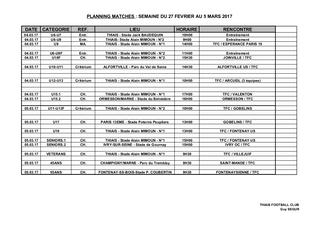 Planning Match 4-5 mars 2017