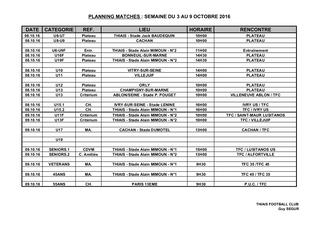 Planning du 3 au 9 octobre