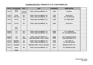 Planing match 18-19 septembre