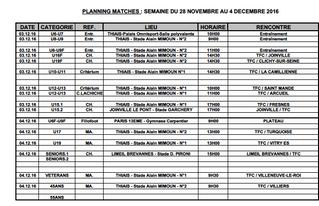 Planning matchs du 28 novembre au 3 décembre
