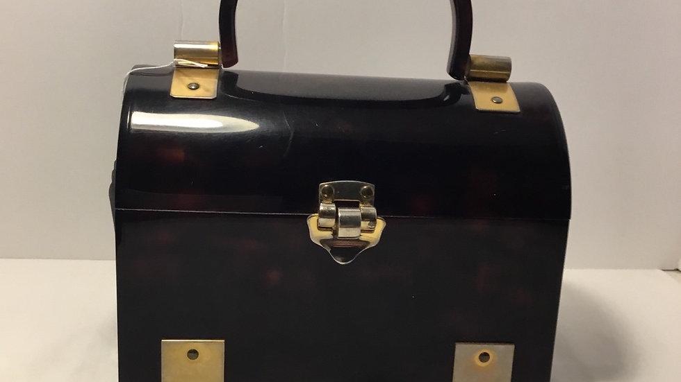 Vintage Tortoise Shell Acrylic Box Purse