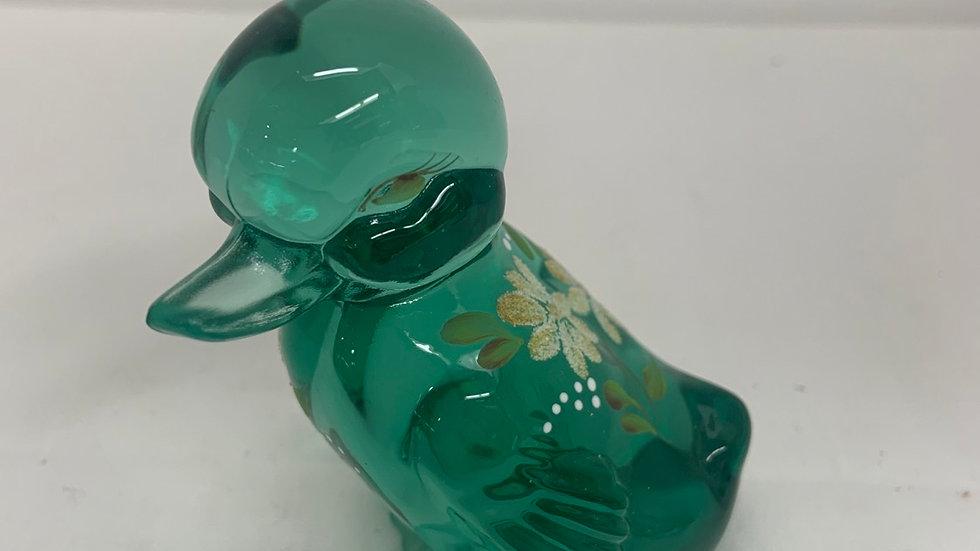 Fenton Glass Flowered Duck