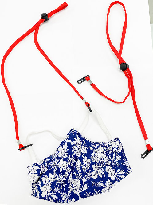 2 Red Lanyards For Masks With Plastic Clips
