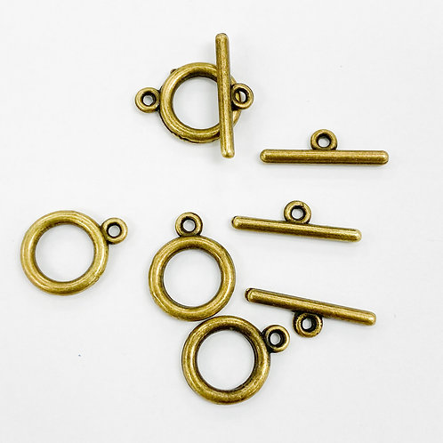 16mm Antique Brass Toggle plain