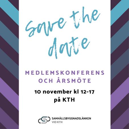 Save the date - Medlemskonferens och årsmöte