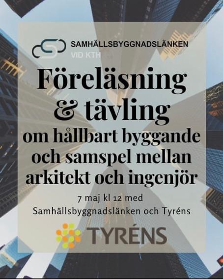 Lunchföreläsning med Samhällsbyggnadslänken och Tyréns 7/5