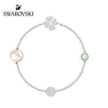 Swarovski Remix 四葉草手鍊,白金色