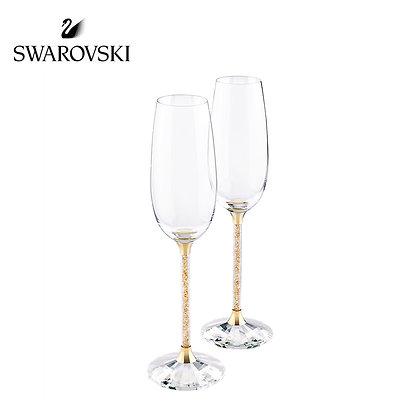 Swarovski CRYSTALLINE 香檳祝酒杯,金色(一對)