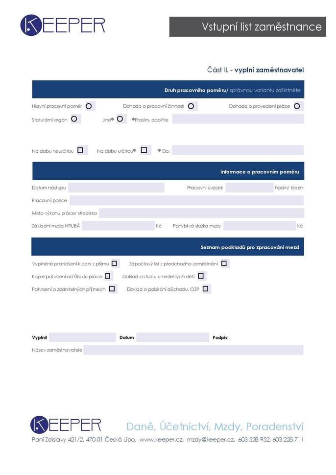 VSTUPNÍ LIST ZAMĚSTNANCE, interaktivní formulář, vyplnit můžete i elektronicky
