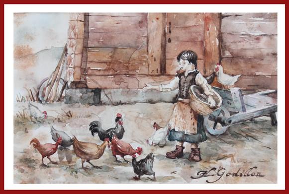 fillette aux poules
