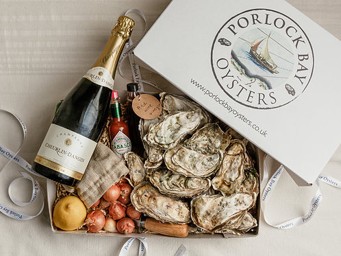 Champagne and Oyster Gift Box by Porlock Bay Oysters
