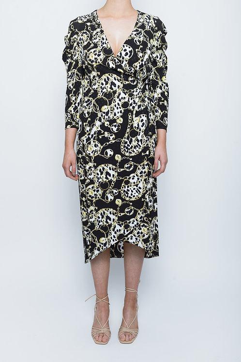 Black Chain Print Pleated Sleeve Midi Dress