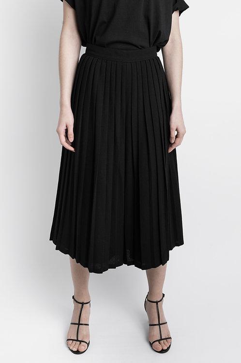 Black Vintage Pleated Culottes