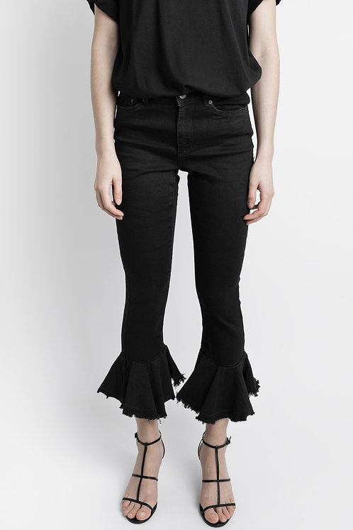 Black Frill Hem Vintage Skinny Jeans