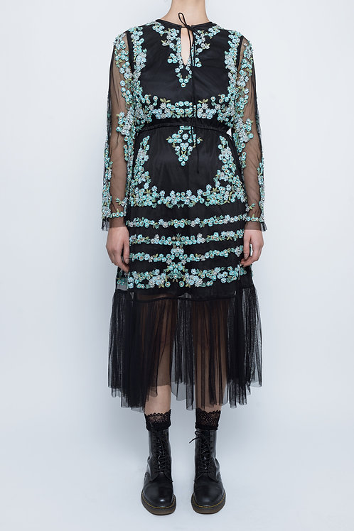 Black Vintage Topshop Beaded Festival Cocktail Dress