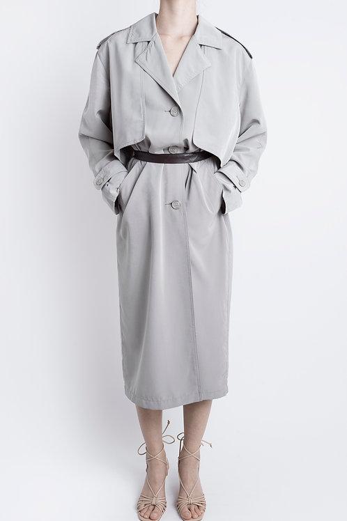 Vintage Grey Maxi Trench Coat Dress