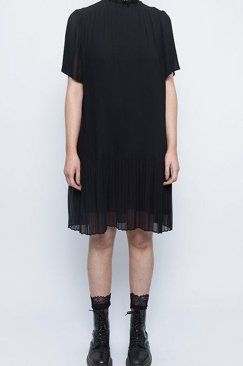 Black Pleated Knee Length Dress