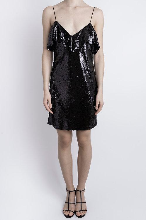 Black Sequin Frill Mini Dress