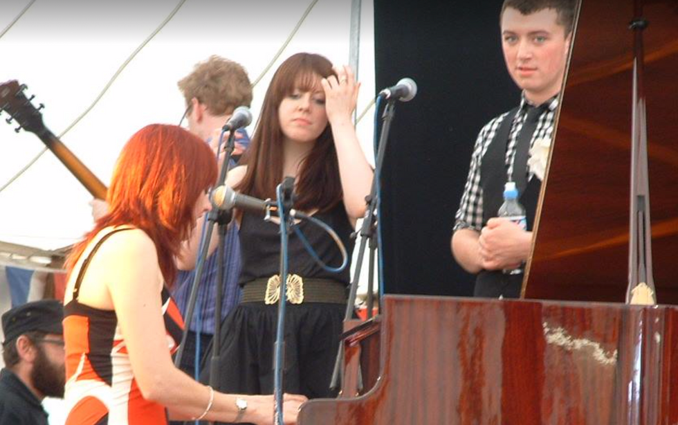 A young Sam Smith and Cara Winter - my backing singers at Bures Festival