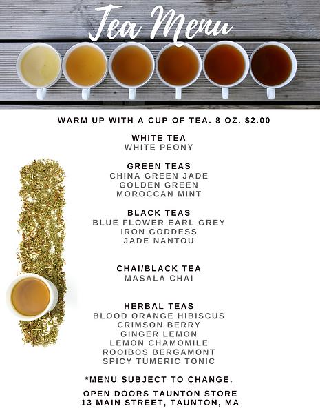 tea menu, Open Doors Tea Shop, Taunton MA, MEM Teas, Sell loose leaf teas, tea gifts