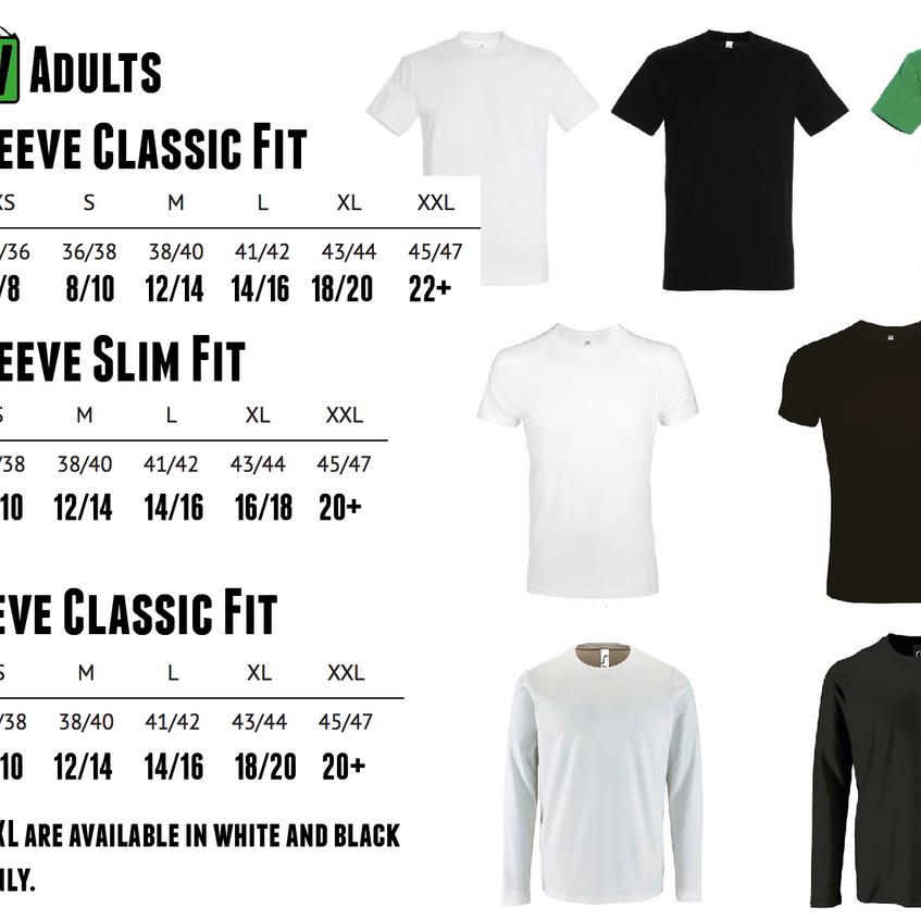 Adult Tshirt Sizes