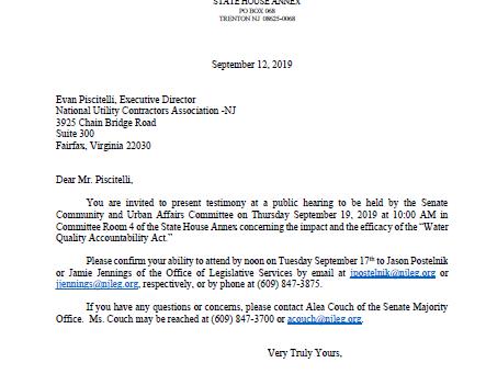 NUCA NJ Invited to Testify Before State Senate