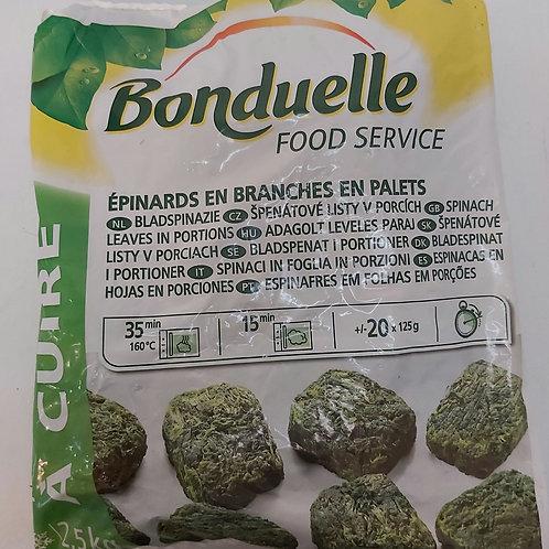 Bonduelle Spinach Leaves Frozen  in Portions 2.5kg