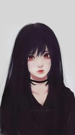 Black-Hairs-White-Anime-Girl-Iphone-Wall