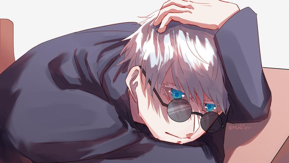 satoru_gojo_white_hair_blue_eyes_boy_gla