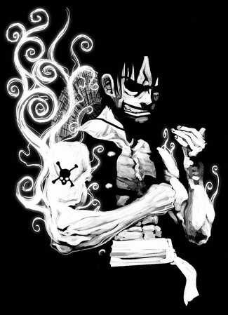 black-and-white-one-piece-monkey-d-luffy