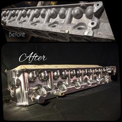 Knight's Kustoms Datsun L28 cylinder head polish