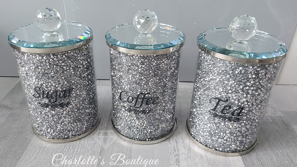 ◇Glass&Crystals Tea,Sugar,Coffee Canisters◇