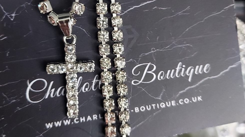 ◇Crystal Cross Choker Necklace◇
