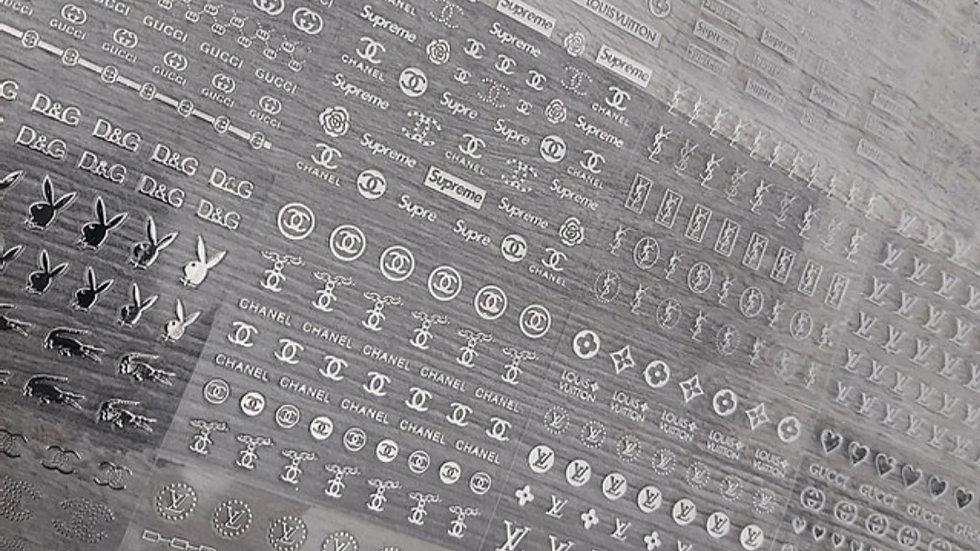 ◇30 sheets Silver Logo Nail Stickers◇