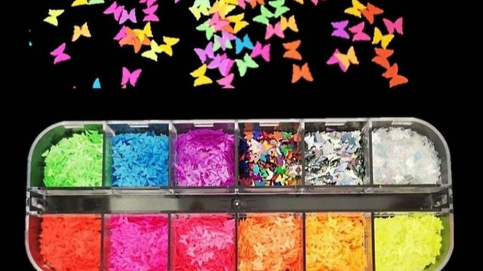 ◇Florescent Butterfly Nail Glitter◇