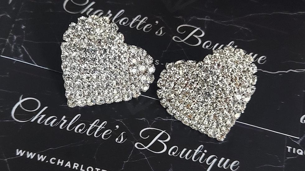 ◇Large Crystal Heart Earrings◇