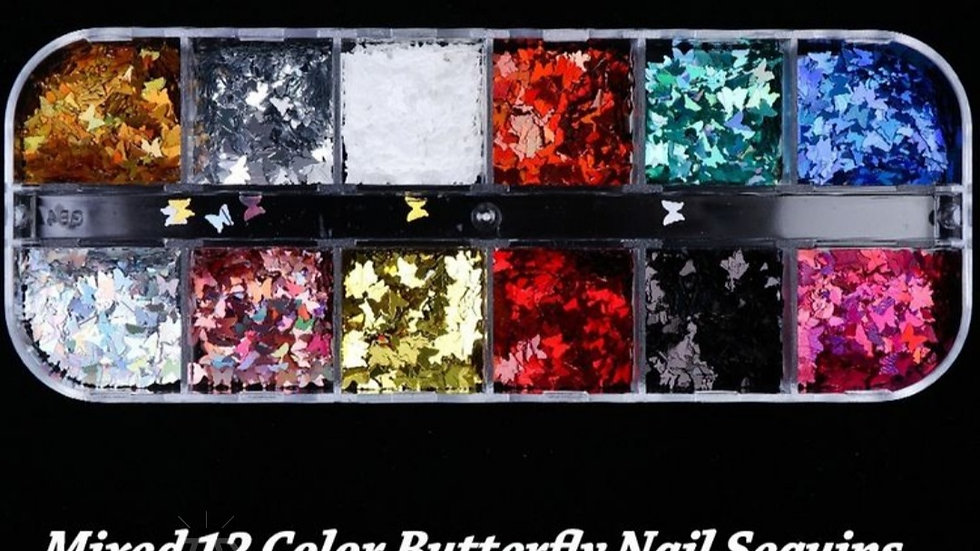 ◇12 Colours Butterfly Nail Glitter◇