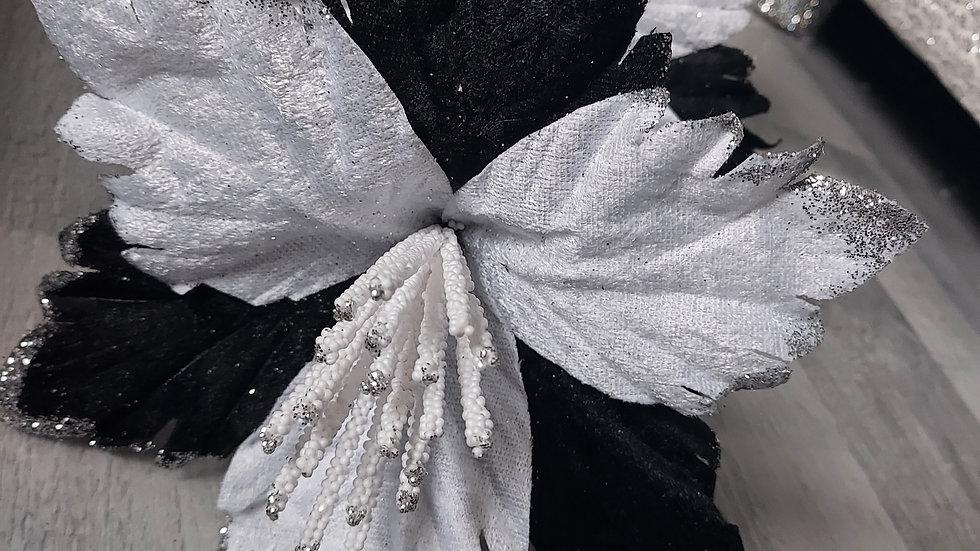 ◇3 Head White/Black Flower Stem◇