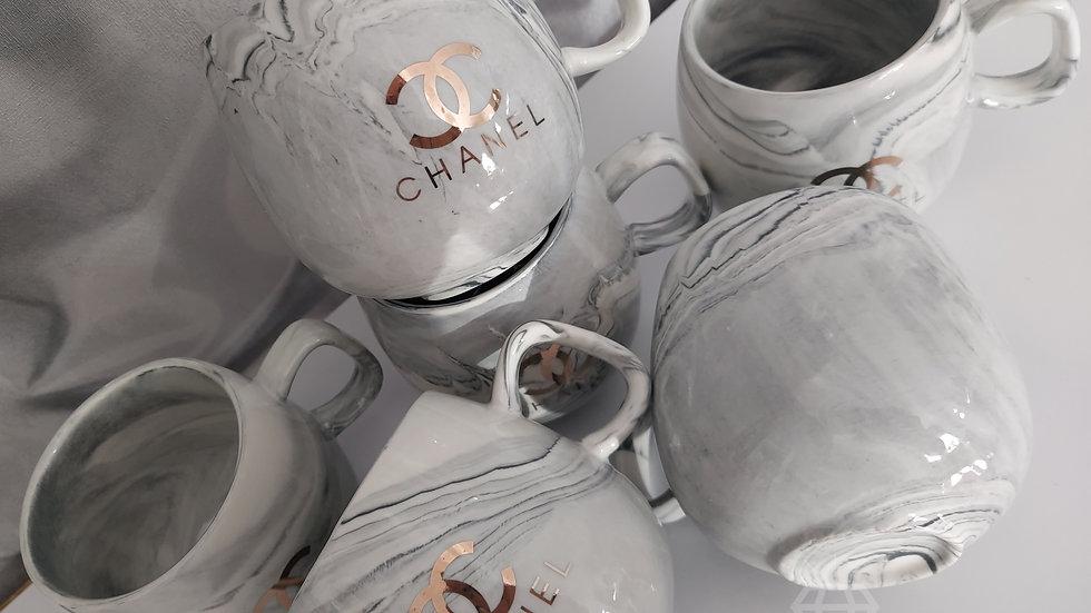 ◇Set of 6 Grey Marble Mugs◇